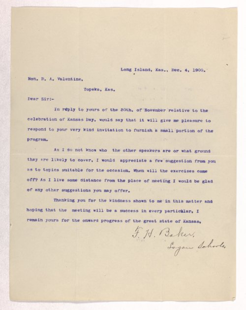 Kansas Day Club correspondence - Page
