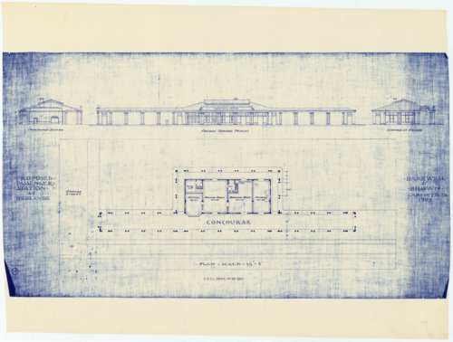 Proposed passenger station at Redlands, California, designed by Bakewell & Brown Architects, from 1909 - Page