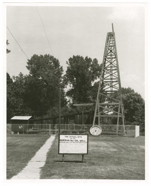 Site of the Norman number 1 oil well with reproduction of derrick, Neodesha, Wilson County, Kansas - Page