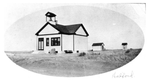 Exterior view of the Halford, Thomas County, Kansas school building - Page