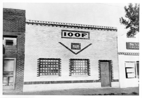 Exterior of the Independent Order of Odd Fellows (I.O.O.F.) building, Rexford, Thomas County, Kansas - Page