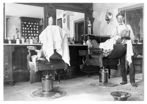 Two interior views of Darb Epard's barber shop, Colby, Thomas County, Kansas - Page