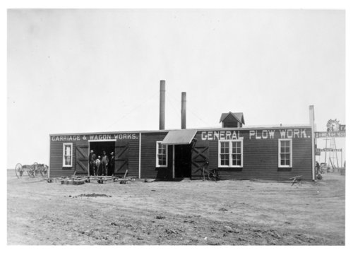 Exterior view of Frank Lewis' blacksmith shop, Colby, Thomas County, Kansas - Page