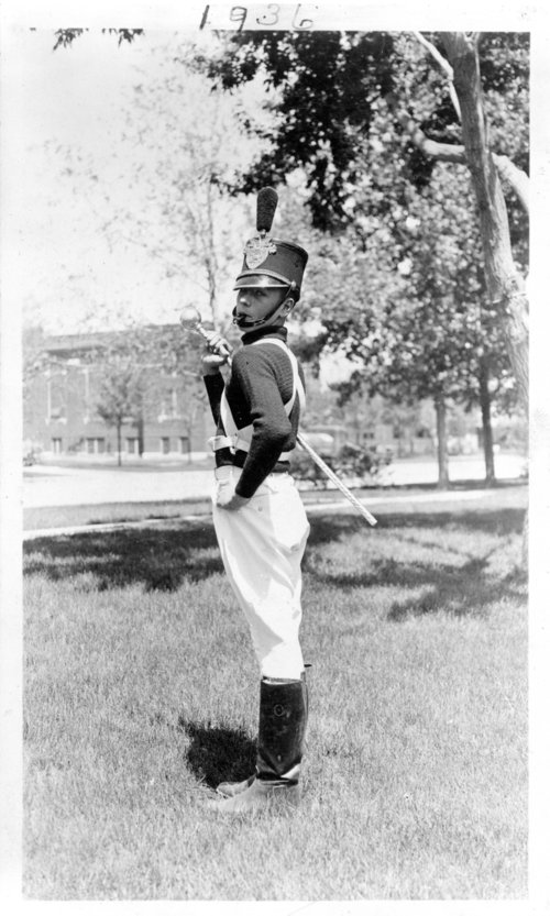 Drum major at an unidentified Colby school, Colby, Thomas County, Kansas - Page