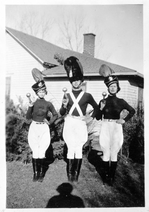 The drum major and two baton twirlers from an unidentified school in Colby, Thomas County, Kansas - Page