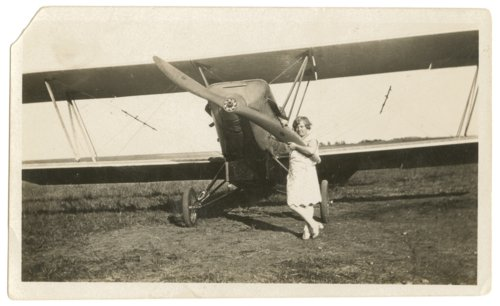 Lourah Frances King with Howard Athon's American Eaglerock airplane in Quenemo, Kansas - Page