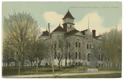 Postcard of Lincoln County, Kansas, courthouse - Page