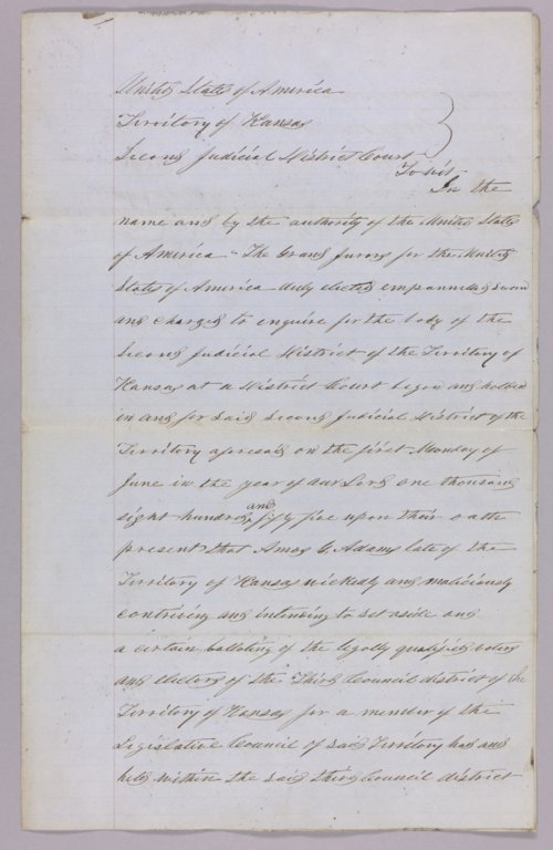 United States versus Amos G. Adams for perjury - Page