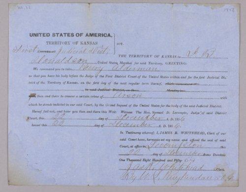 Kansas Territory versus Henry Alderman for arson - Page