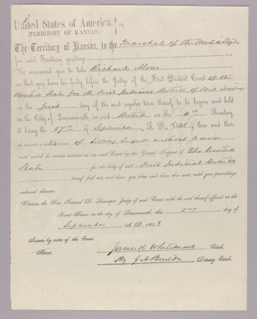 Kansas Territory versus Richard Alous for selling liquor without a license - Page