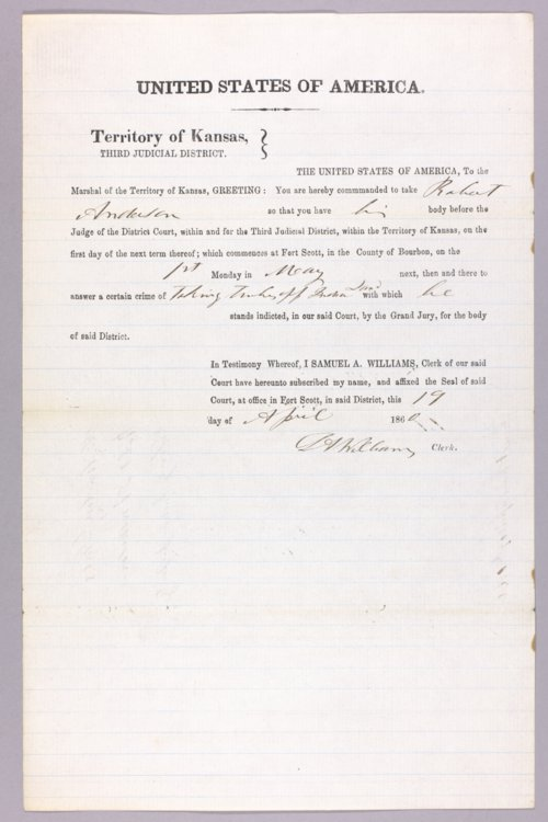 United States versus Robert Anderson for taking Indian property - Page