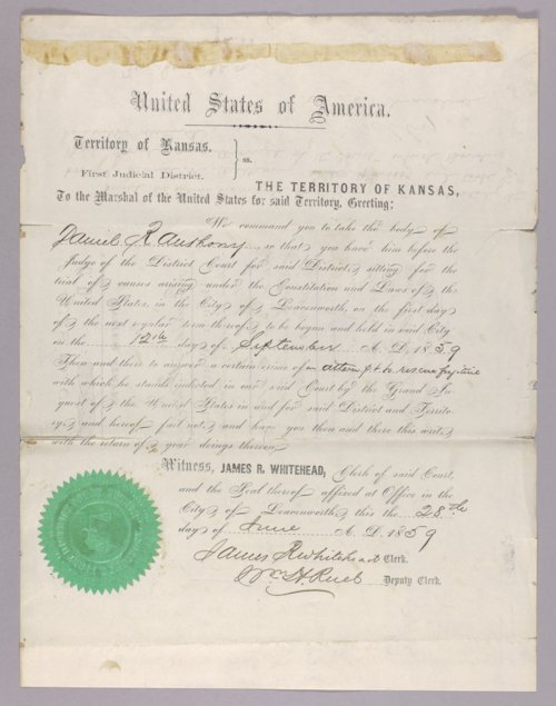 United States versus Daniel R. Anthony for attempt to rescue a fugitive - Page