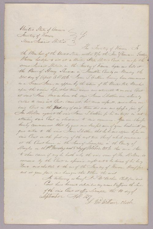 Kansas Territory versus James L. Adkins for contempt - Page