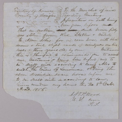 Kansas Territory versus C. W. Babcock for horse stealing - Page