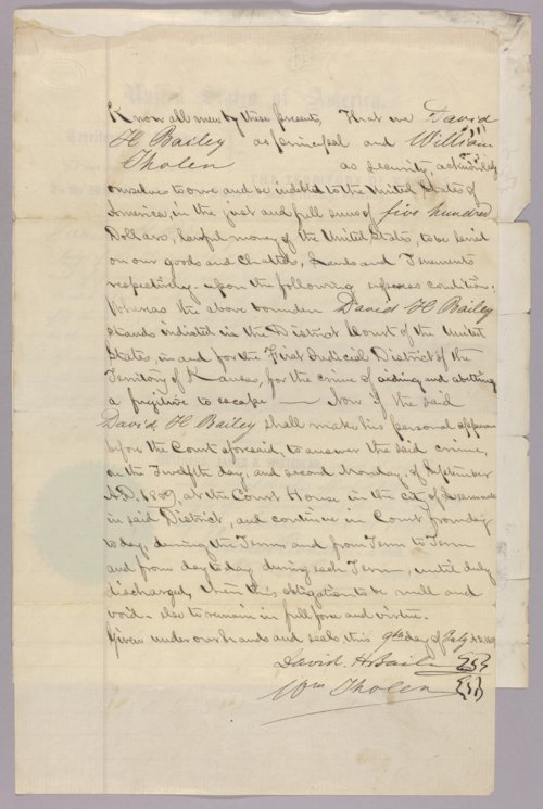 United States versus David H. Bailey for aiding and abetting an escaped fugitive - Page