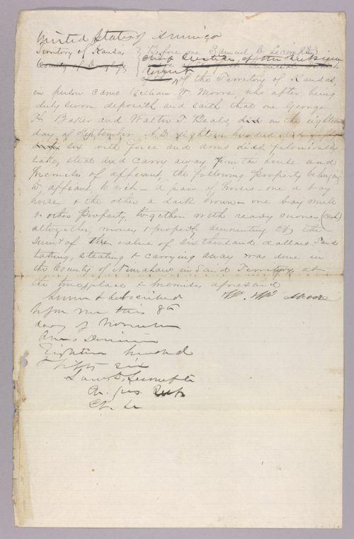 Kansas Territory versus George H. Baker and Walter T. Beals for robbery - Page