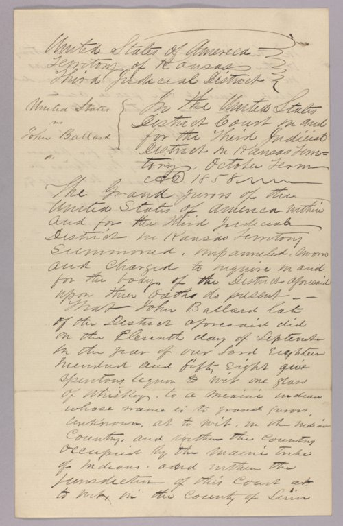 United States versus John Ballard for giving liquor to Indians - Page