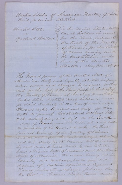 United States versus Richard Ballard for selling liquor to Indians - Page