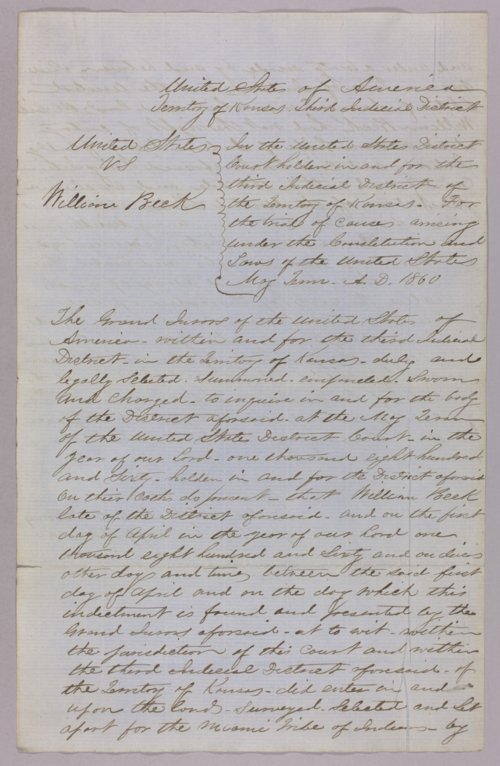 United States versus William Beck for taking timber from Indian lands - Page