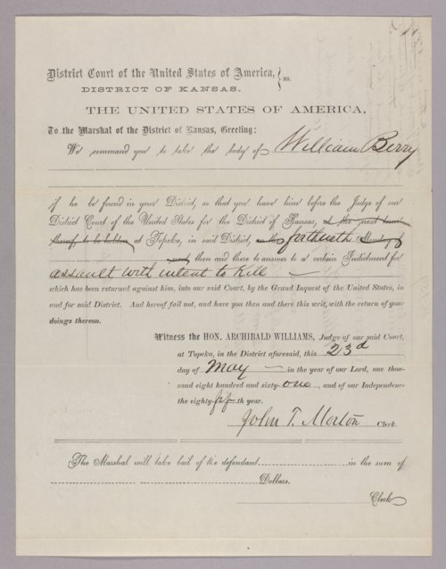United States versus William Berry for assault with intent to kill - Page