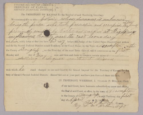 Kansas Territory versus Sanford M. Bickerstaff for selling liquor without a license - Page