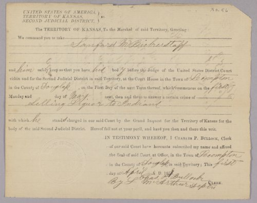 Kansas Territory versus Sanford M. Bickerstaff for selling liquor to Indians - Page