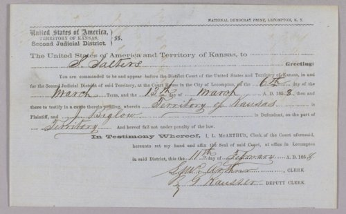 Kansas Territory versus Jonathan Biglow for selling liquor without license - Page