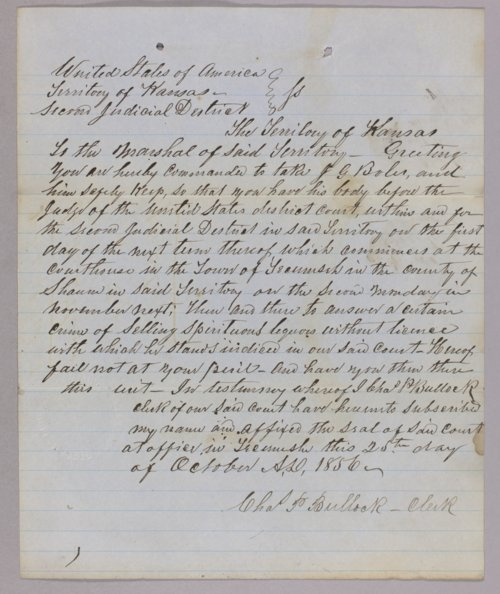 Kansas Territory versus J. G. Boles for selling liquor without a license - Page