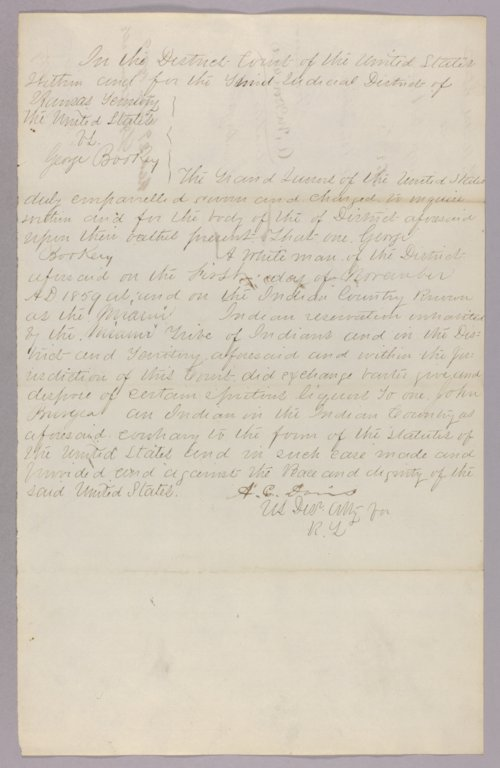 United States versus George Bookey for selling liquor to Indians - Page