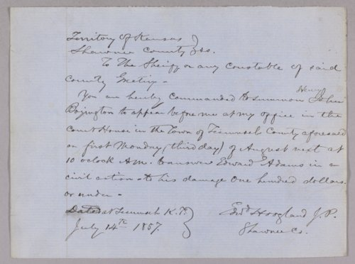 Kansas Territory versus Henry Boyington for assault with intent to kill - Page