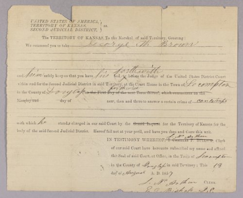 Kansas Territory versus George W. Brown for contempt - Page