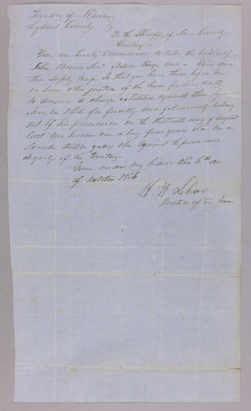 Kansas Territory versus John Brown, James Cline and Nelson King - Page