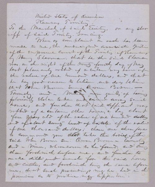 Kansas Territory versus John Brown for stealing horses - Page