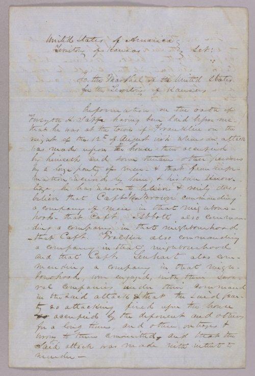 Kansas Territory versus Abbott, John Brown, Lenhart, and Walker for attack on Franklin - Page