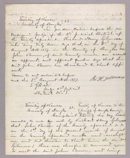 Kansas Territory versus John Brown for assault on Henry Gilmore - Page