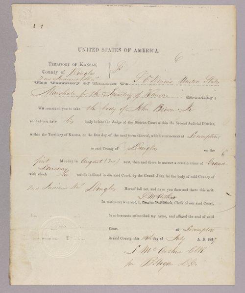Kansas Territory versus John Brown Jr. for grand larceny - Page