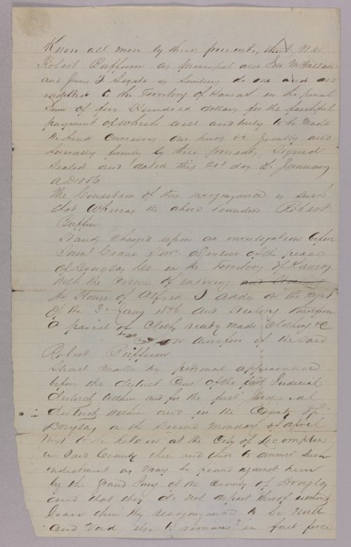 Kansas Territory versus Robert Buffum for robbery - Page