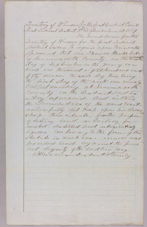 Kansas Territory versus Thomas Burke for selling liquor on Sunday - Page