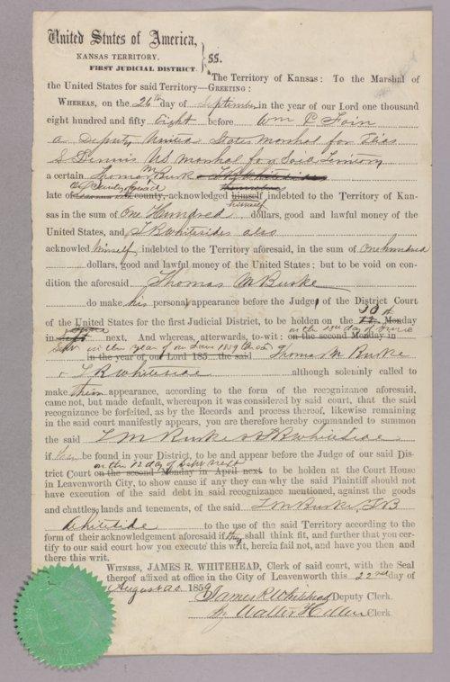 Kansas Territory versus Thomas Burke for contempt - Page