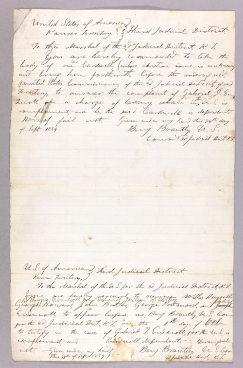Kansas Territory versus George Cardwell for larceny - Page
