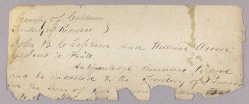 Kansas Territory versus John B. Chapman for failure to keep the peace - Page