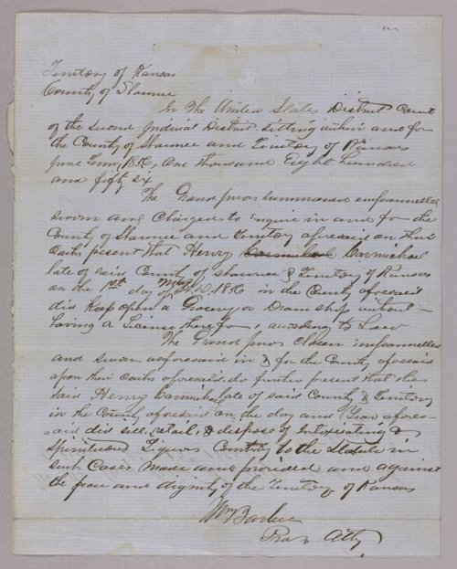 Kansas Territory versus Henry Carmichael for selling liquor without a license - Page