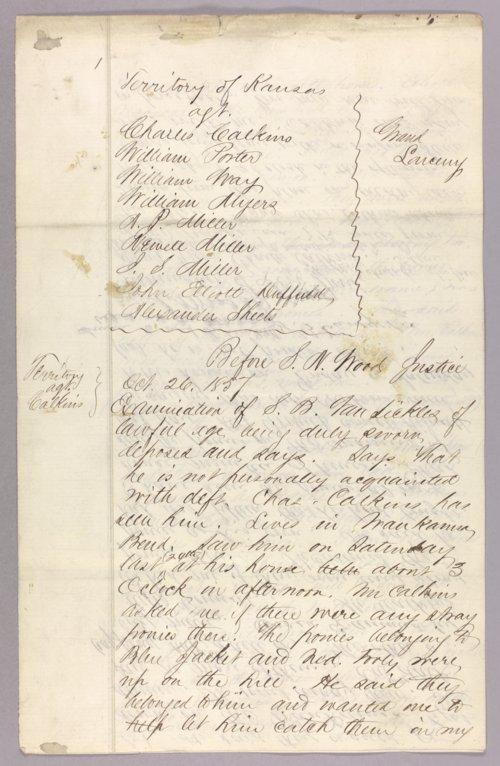 Kansas Territory versus Charles Calkins et al. for grand larceny - Page