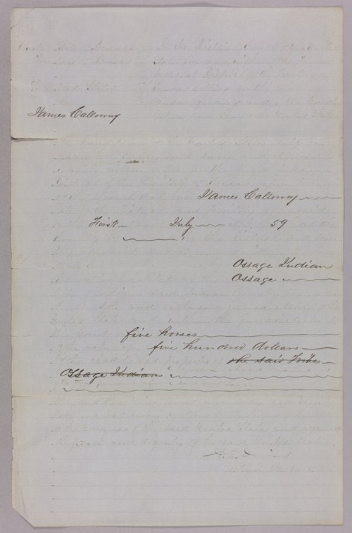 United States versus James Calloway for horse stealing on Osage Indian land - Page