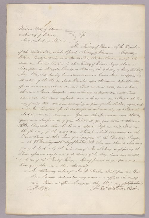 Kansas Territory versus James Campbell for contempt - Page