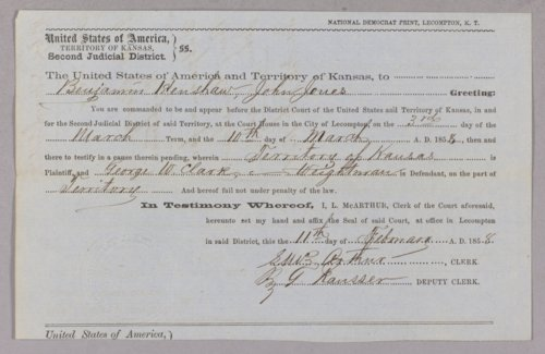 Kansas Territory versus George W. Clark (Clarke) and Weightman for grand larceny - Page