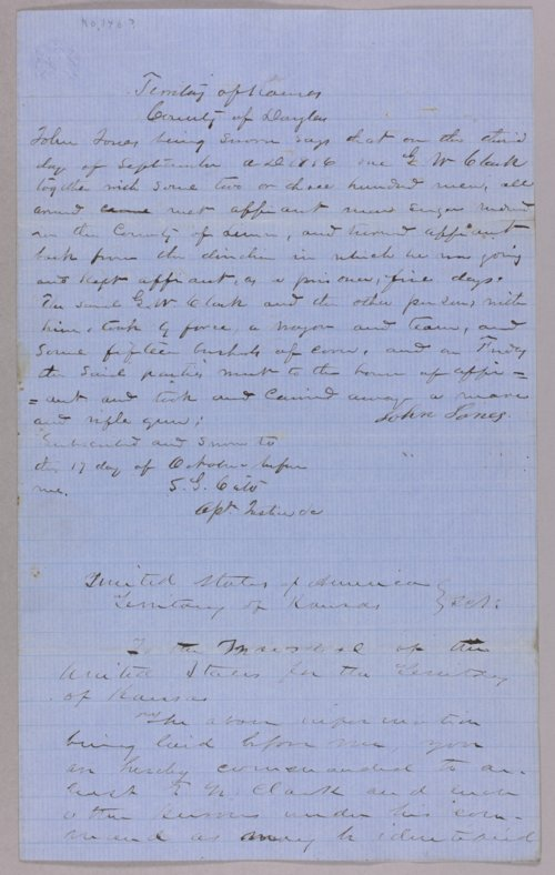 Kansas Territory versus George W. Clark for larceny - Page
