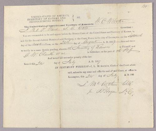 Kansas Territory versus G. W. Clarke, James N. Burns for murder - Page