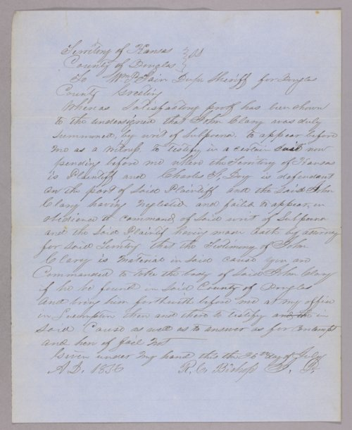 Kansas Territory versus John Clary for contempt - Page