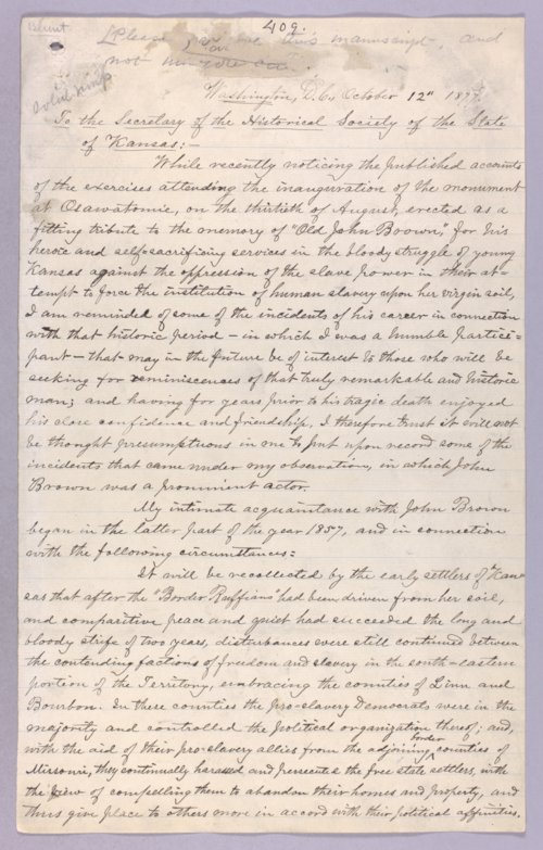 James G. Blunt to the Secretary of the Historical Society of the State of Kansas - Page